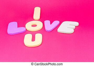I love you background by foam letter