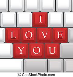 """I Love You"" symbol on PC keys - illustration"