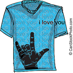 i love you tee. Vector illustration