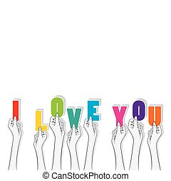 I love you text banner design