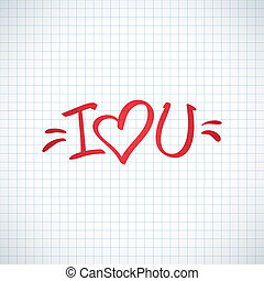 i love you, handwritten abbreviated text with heart shape
