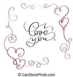 I love you text in red frame with heart
