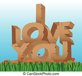 I Love You text made of stones.
