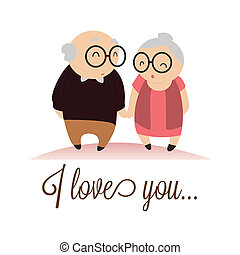 I love you text with abstract grandparents characters on...