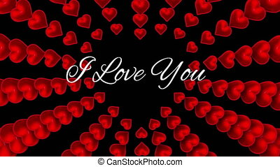 I love you text with hearts on black background