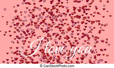 I love you text with hearts on pink background