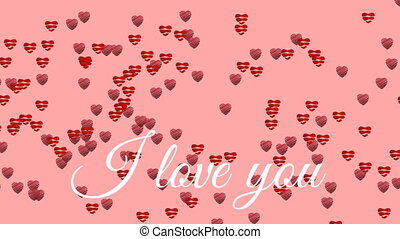 I love you text with hearts on pink background - Animation ...