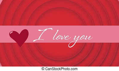 I love you text with red circle on pink background