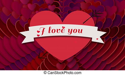 I love you text written on heart on black background