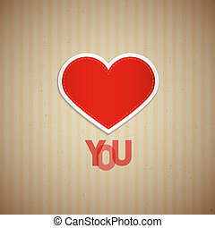I Love You Theme, Heart and Title on Cardboard