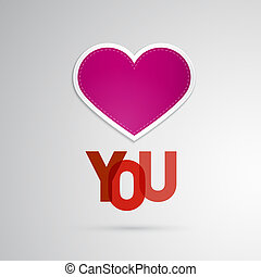 I Love You Theme, Pink Heart on Grey Background