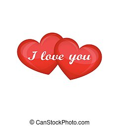 I love you. Two red hearts isolated. Creative design for Valentine's day. Vector illustration