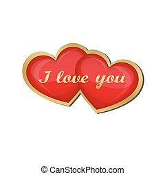 I love you. Two red hearts isolated in a gold frame. Creative design for Valentine's day. Vector illustration