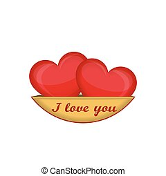 I love you. Two red hearts isolated on a gold saucer. Creative design for Valentine's day. Vector illustration