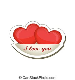 I love you. Two red hearts isolated on a saucer. Creative design for Valentine's day. Vector illustration