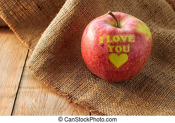 I love you, Valentines apple