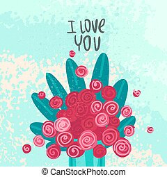 I love you. Valentines Day or Birthday card. Vector illustration.