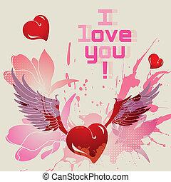 I love you vector card