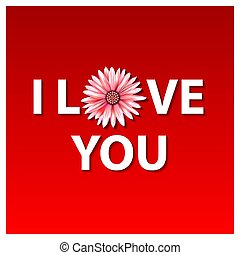I love you vector illustration in flat design. flower red