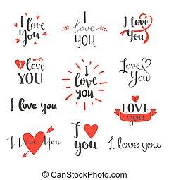 I love You vector set. - Vector I love You photo overlays,...