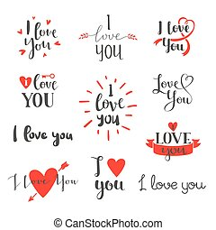 I love You vector set. - Vector I love You photo overlays,...