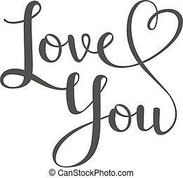 I love You vector text - Vector I love You hand drawn...
