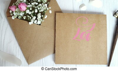 I Love You Vintage Written animation text on kraft envelope...