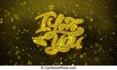 I Love You Wishes Greetings card, Invitation, Celebration Firework