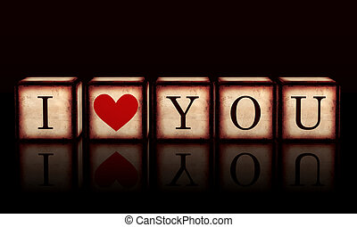 I love you with red heart in 3d wooden cubes