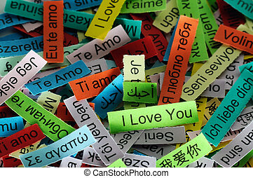 I Love You Word Cloud printed on colorful paper different languages