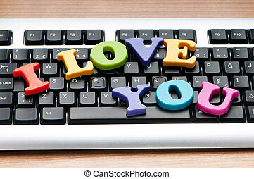 I love you words on the keyboard
