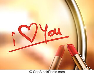 i love you words written by red lipstick on glossy mirror
