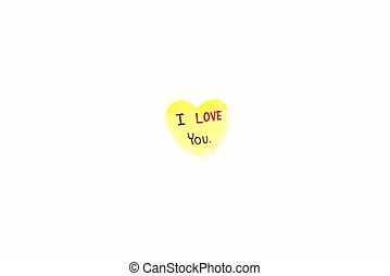 I love you write on heart paper card