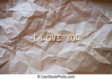 I love you written on kraft paper