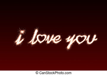 i love you written with Sparkle firework