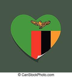I love Zambia heart vector illustration