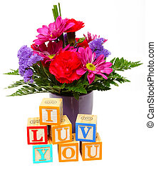 I Luv You with Flowers