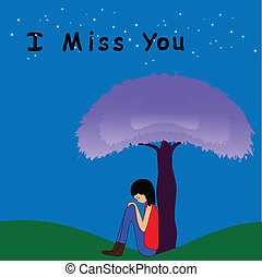 I miss you - Girl sitting lonely under the tree
