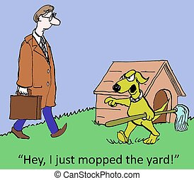 "I mopped the yard - ""Hey, I just mopped the yard."""