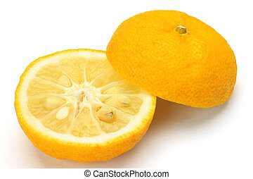I photographed citron in a white background.