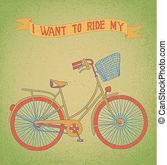 i, querer, montar, meu, bicicleta