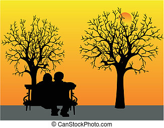 Loving elderly couple sitting on park bench, watching the sunset and remembering days gone by... As his best friend is leaving him soon, and he is taking care of her.. doing Palliative Care at home, for his loving wife, with Respect and honor..