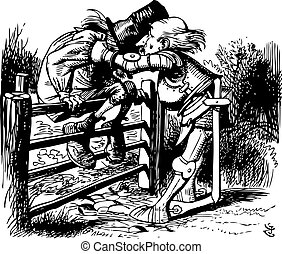 I saw an aged aged man, A-sitting on a gate - Through the Looking Glass and what Alice Found There original book engraving