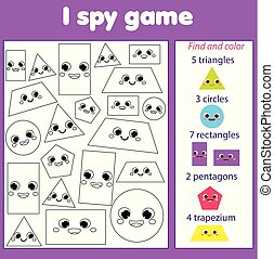 I spy game for toddlers. Find and count objects. Educational...