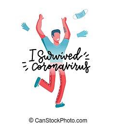 I survived coronavirus - lettering print comcept. Happy ...