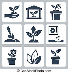 i tiltagende, plante, vektor, sæt, iconerne