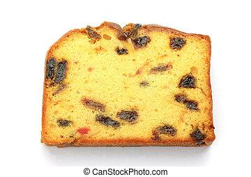 fruitcake - I took a fruitcake of one slice in a white ...