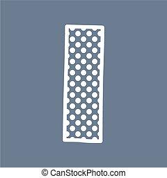 I vector polka dots alphabet letter