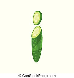I veggie vegetable English alphabet letter made from cucumber vector Illustration on a white background