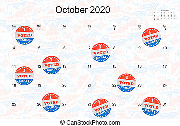 I Voted Early stickers on calendar for October as concept for early voting in election